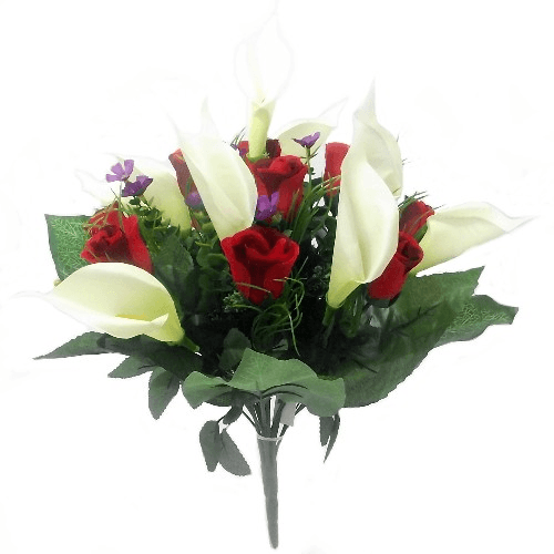 820775 Large Red and Cream Calla Lily and Rosebud Mixed Bush
