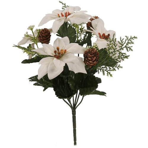 837100 30cm Christmas Bush With Poinsettias and Pine Cones Ivory