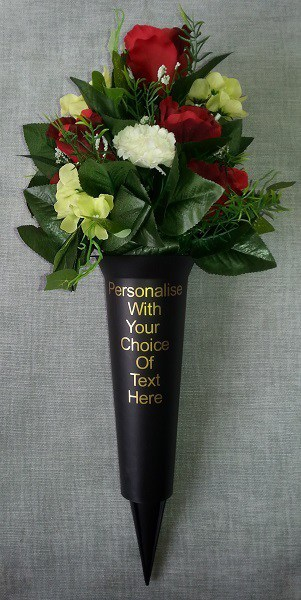 Personalised Grave Vase Spike with Luxury Flowers