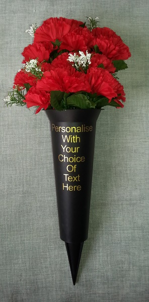 Personalised Grave Vase Spike with Standard Red Flowers