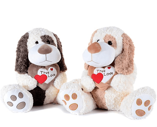 Floppy Ears Dog with True Love Heart Light Brown