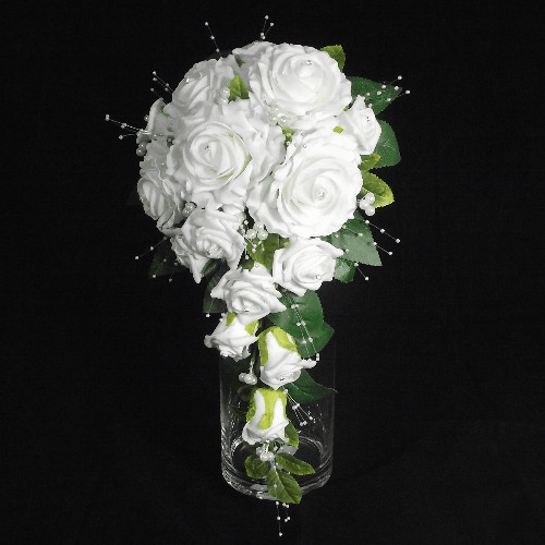 Ivory Foam Rose and Diamante Teardrop Shaped Bouquet