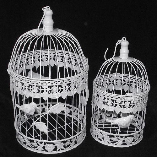 Set of 2 White Round Birdcages Bird Design