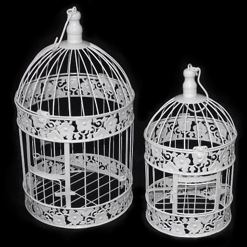 Set of 2 White Round Birdcages Floral Design