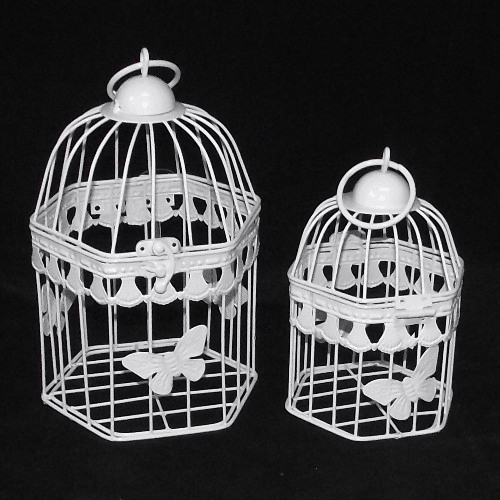 Set of 2 White Hexagonal Birdcages Butterfly Design
