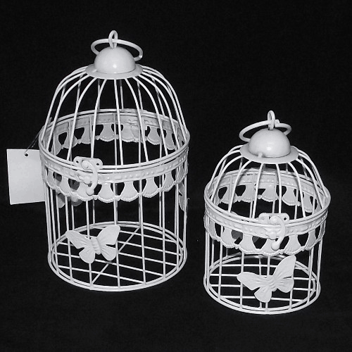 Set of 2 White Round Birdcages Butterfly Design