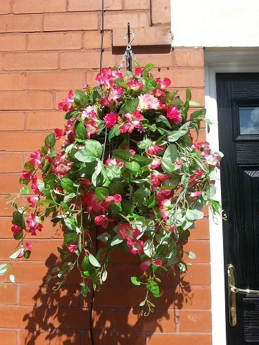 Artificial flowers cone hanging basket pinks mightylinksfo