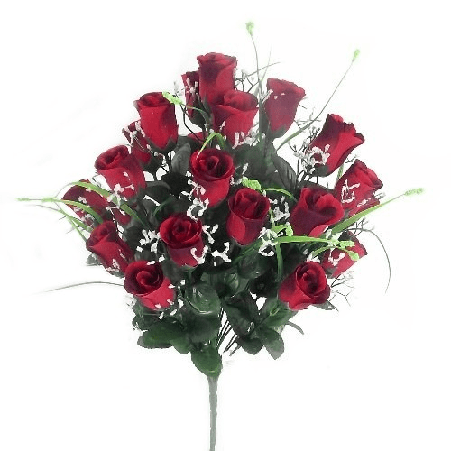 810738 Red Rosebud Bush with Gyp and Grass