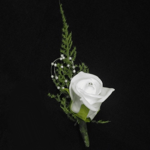 813401 Ivory Foam Rose and Pearls Buttonhole