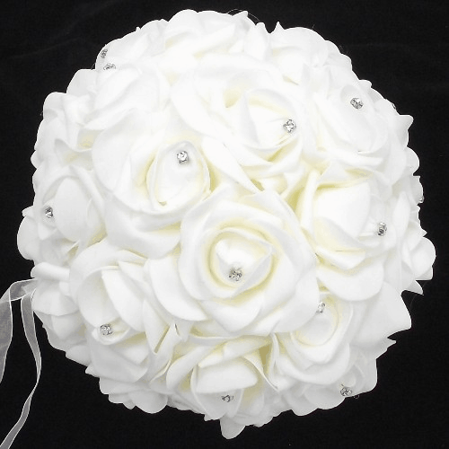 836745 Ivory Foam Rose Pomander Ball