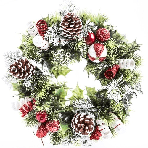 866841 11 Inch Holly Wreath With Candy Cane Decorations