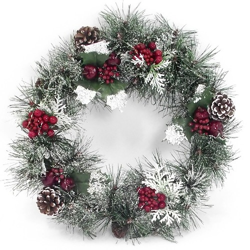 801897 19 Inch Berry and Cone Wreath