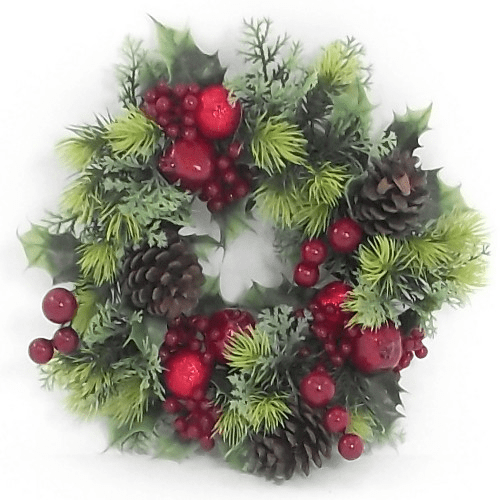 828856 11 Inch Holly Wreath with Red Berries and Cones