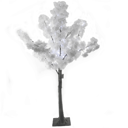Pair of White Artificial Blossom Trees with LED Lights 120cm 865837