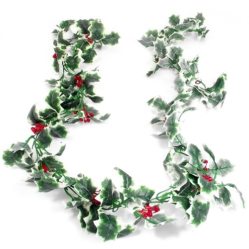 Variegated holly and berry garland