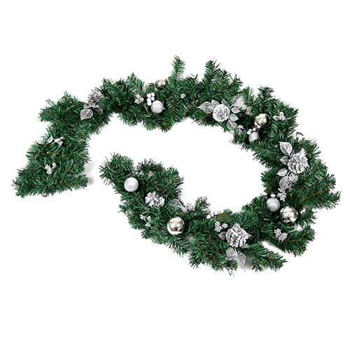 Spruce Garland With Silver Cones Baubles And Berries