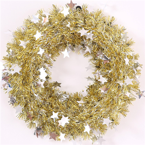 Gold and silver cm tinsel wreath