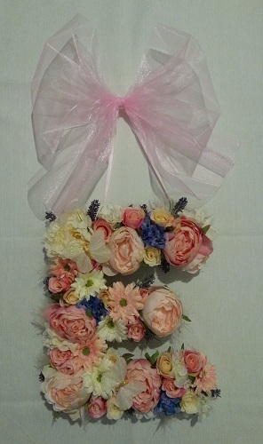 Artificial Flower Letter Monogram with Peonies and Roses