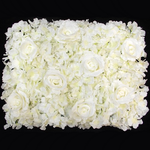 Ivory Rose and Hydrangea Flower Wall 869514