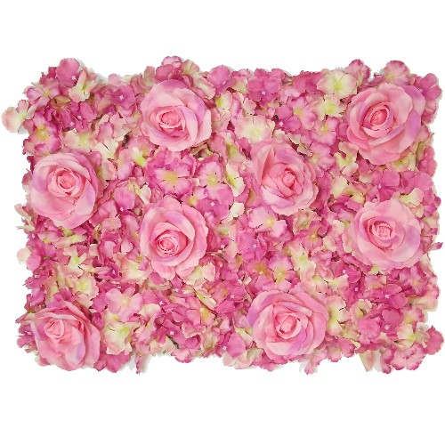 Pink and Cream Rose and Hydrangea Flower Wall 869521