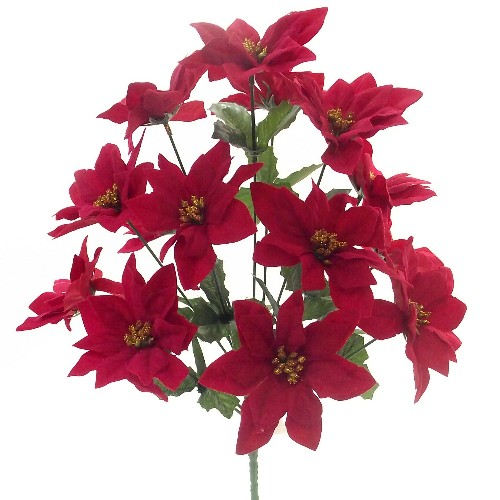 Christmas Velvet Poinsettia Bush 865691