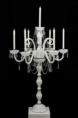 White 6 Twist Arm Candelabra L7736