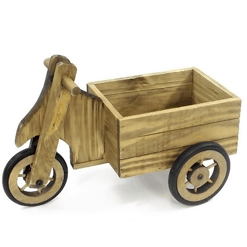 38cm Wooden 3 Wheel Cart Planter 883985