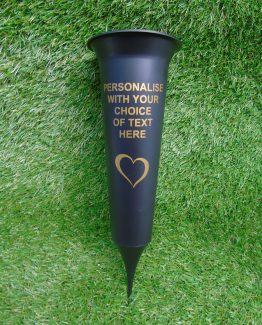 Black Personalised Grave Spike Vases